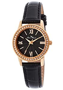 Lucien Piccard Women's LP-12006-RG-01 Veleta Black Textured Dial Swarovski Crystal Accents Black Leather Watch