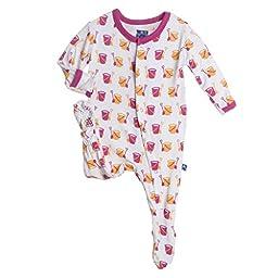 KicKee Pants Little Girls Footie Pajama- Natural Shovel & Pail, Newborn