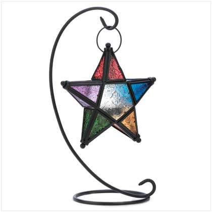 B008YQ4JAO Gifts & Decor Evening Star Candle Holder Hanging Standing Lantern