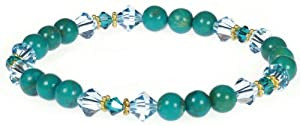"""Gold Plated Silver 6mm Turquoise Bead with Sky Blue Crystallized Swarovski Elements Stretch Bracelet, 7"""""""