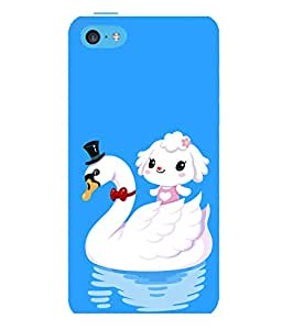 printtech Cute Duck Water Girl Back Case Cover for Apple iPhone 5C