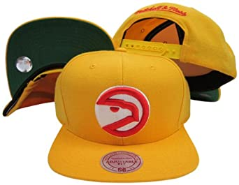 Atlanta Hawks Solid Yellow Plastic Snapback Adjustable Plastic Snap Hat Cap by Mitchell & Ness
