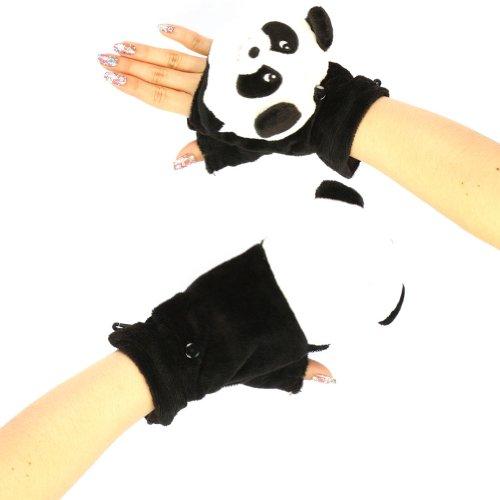 Winter Panda Flip Fingerless Mittens Gloves Glomitt