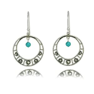 Sterling Silver Marcasite and Synthetic Turquoise Round Dangle Earrings
