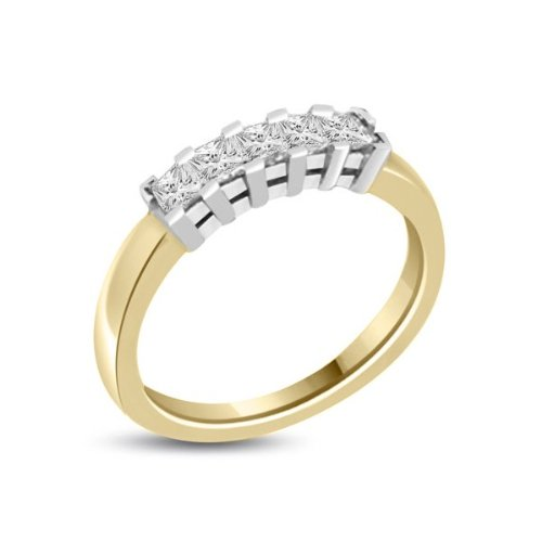 0.60 carat Diamond Half Eternity Ring for Women. H/SI1 Princess Cut Diamonds in 4 Claw Setting in 18ct Yellow & White Gold