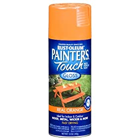 Rust-Oleum 249095 Painter's Touch Multi-Purpose Spray Paint, Gloss Real Orange, 12-Ounce