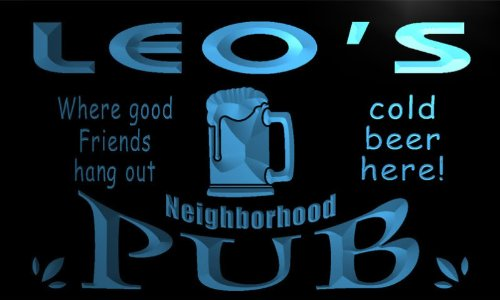 pg168-b-leos-neighborhood-home-bar-pub-beer-neon-light-sign-barlicht-neonlicht-lichtwerbung
