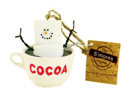 S'mores Marshmallow Character in a Hot Cocoa Mug Ornament