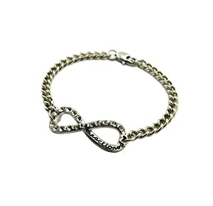 Xb287 Iced Out One Direction Infinity Directioner Bracelet 4mm Link Chain Small Silver from NYfashion101inc