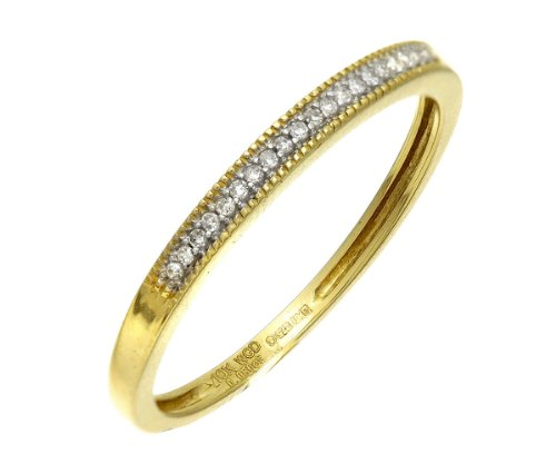 Beautiful 9 ct Gold Women Half Eternity Diamond Ring Brilliant Cut 0.05 Carat GHIJ-SI3-I1
