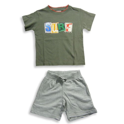 Mish - Little Boys Short Sleeve Short Set, Dark Olive, Grey 17821-2T