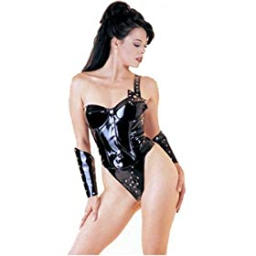Vinyl 3PC Bustier Thong and Elbow Cuff Set