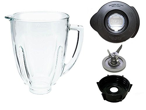 Blender Parts & Replacement Oster Osterizer Blender Jar Assembly GLASS ROUND Top - GENUINE (Osterizer Blender Glass Jar White compare prices)