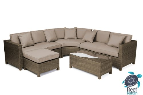 Reef Rattan Barcelona 5 Pc Sectional Sofa Set - Chocolate Rattan / Taupe Cushions picture