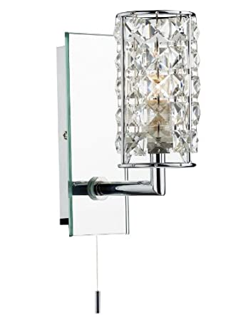 Dar Rhodes Switched Bathroom Wall Light With Crystal Shade IP44 Rated RHO075