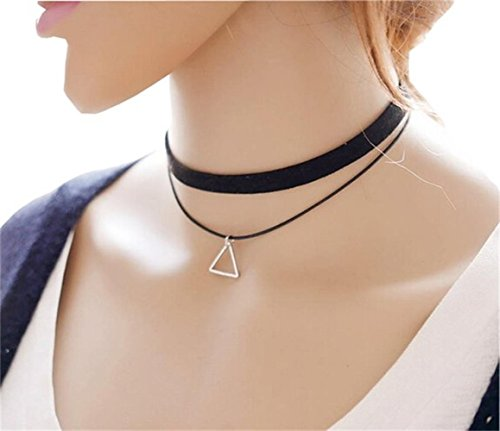 UdobuyPunk Gothic Long Black Velvet PU Leather Chain Necklace Stretch Tattoo Choker Elastic Tassel Necklaces (Double layer triangle choker) (Pic Could compare prices)