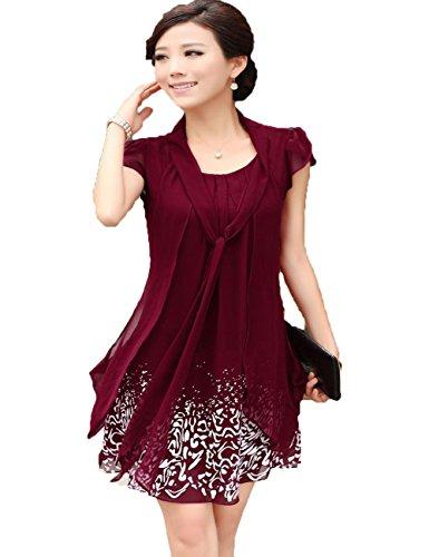 Womens Fashion Casual Chiffon Print Dress Plus Size Fake Two-Pcs Blouse Dress (Xxxxl, Wine Red)
