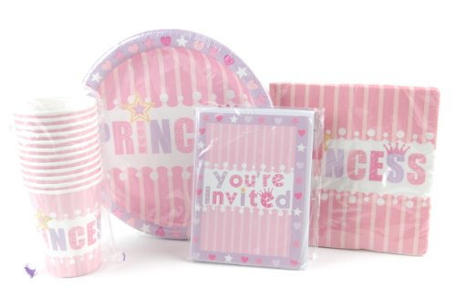Pink Princess Paper Plates, Napkins, Cups & Invitations Set