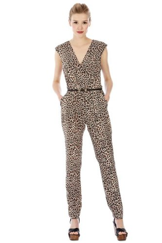 Sexy Women Leopard Print V-neck Sleeveless Clubwear Jumpsuit