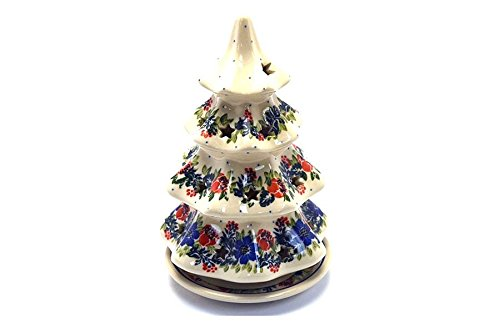 Polish Pottery Christmas Tree with Plate - Large - Garden Party Polish Pottery Christmas Tree