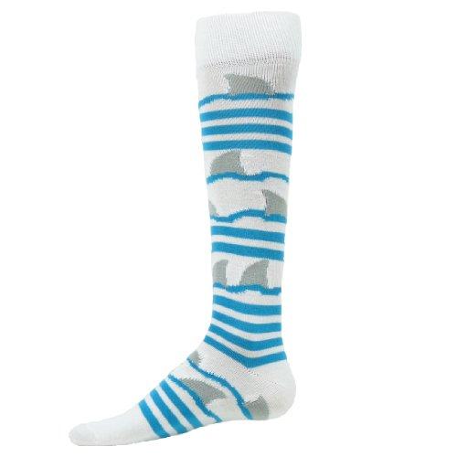 Red Lion Shark Socks ( White / Turquoise - Small )