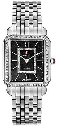 Michele Deco II Noir en acier inoxydable Mère de Pearl cadran Mesdames Montre mww06x 000011