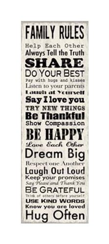 Artissimo Designs, Family Rules, 23231CPBG0, 1-Piece Sign Image, 12-Inch by 36-Inch Printed Canvas