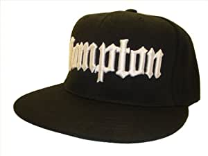 Compton Flat Bill Snap Back Black & White Adjustable Baseball Cap Hat