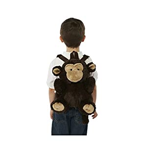 Plush Animal Preschool Backpack with Zipper Opening and Adjustable Straps (Monkey)
