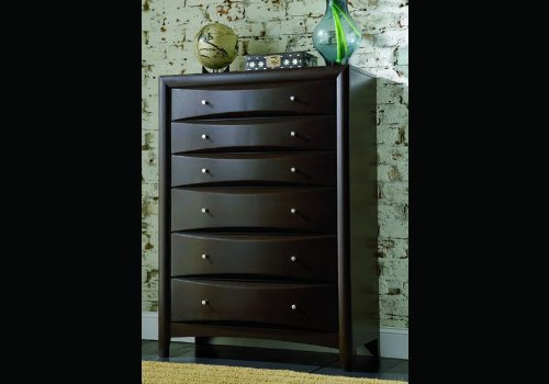 Bedroom Chest Cappuccino Finish Wood Bed Room Drawers back-909363