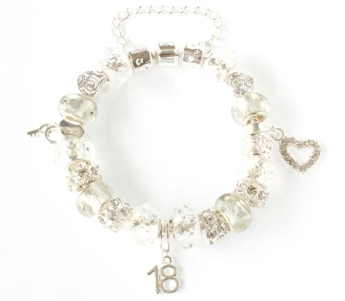 The Charm Cabin Gift Boxed 18th Birthday Charm Bracelet - Sparkling Ice White And Silver - Size 18Cm