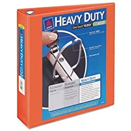 Avery-Dennison 17598 Heavy-Duty View Binder with Locking 1-Touch EZD Rings, Orange - 2 in.