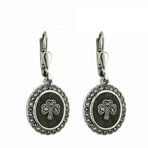 Marcasite Irish Shamrock Marble Earrings