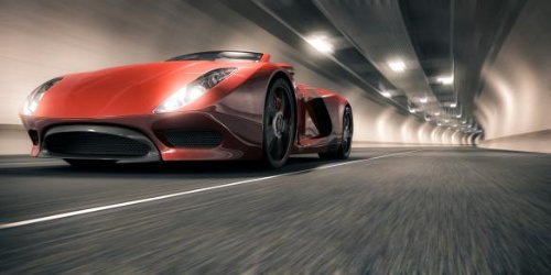 Sports Car In A Tunnel Wall Decal - 30 Inches W X 15 Inches H - Peel And Stick Removable Graphic front-812889