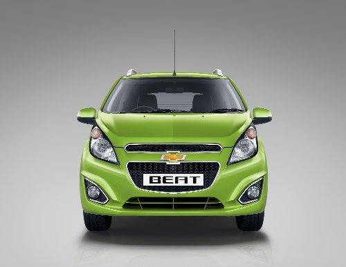 "Chevrolet Beat (2014) Car Art Poster Print On 10 Mil Archival Satin Paper Green Front Studio View 20""X15"""
