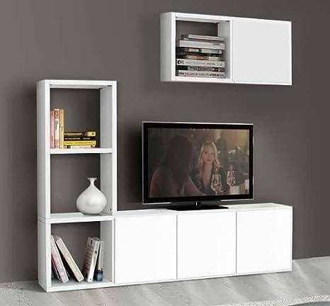 Porta tv, libreria soggiorno bianco frassinato 8 elementi 4 antine