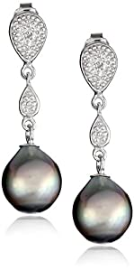 Sterling Silver 8-8.5mm Tahitian Cultured Black Pearl and Diamond Drop Earrings