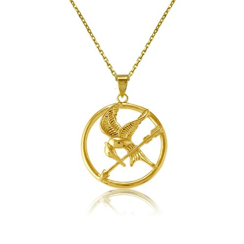 "Sterling Silver The Hunger Games-inspired Gold-Plated Mockingjay Pendant with 18"" Chain"
