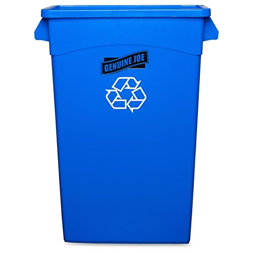 "Genuine Joe GJO57258 Recycling Rectangular Container, 23 gallon Capacity, 22-1/2"" Width x 30"" Height x 11"" Depth, Blue Image"