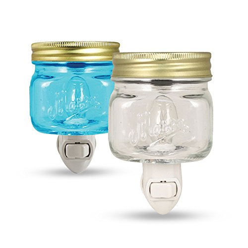 Bundle - Mason Jar Plug in Wax Warmer Night Light 1 Blue & 1 Clear by Tuscany Candle (Blue Wax Burner compare prices)