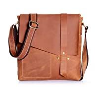 Amango Crazy Horse Leather Messenger Bag Cowhide Brown