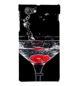PrintVisa Sparkling Water Glass Design 3D Hard Polycarbonate Designer Back Case Cover for Sony Xperia J ST26i