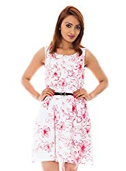 White Color Flower Print A Line Dress With Black Belt