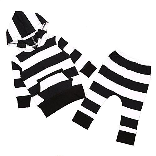 Newborn Baby Hoodies Black White Stripes Top Shirt Long Pants Clothing Set (80(6-12months))