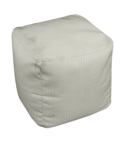 E by design Geometric Pouf, 13-Inch, Oatmeal White