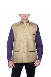 Routeen Golden Nehru Jackets for Men