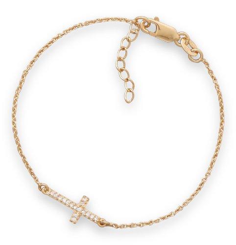 7 Inch + 1 Inch 14 Karat Gold Plated Bracelet with CZ Sideways Cross