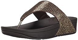 Fitflop Women\'s Lulu Superglitz Textile Sandal, Copper, 8 M US