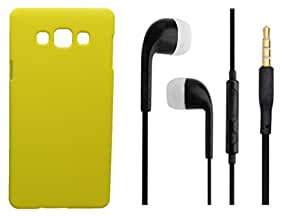 XUWAP Hard Case Cover With 3.5mm Stereo Earphones For Samsung Galaxy J5 - Yellow