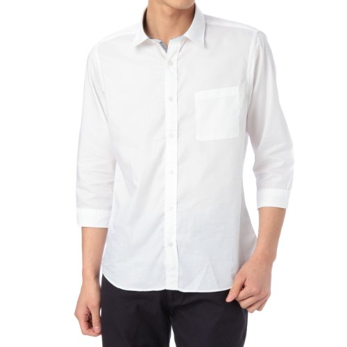 (ボイコット)BOYCOTT 市松織り柄七分袖シャツ ホワイト系(002) 02(M)